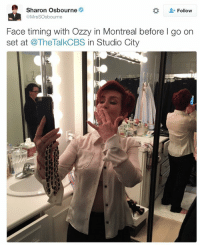 This is so sad.... Just a few weeks ago they were facetiming eachother https://t.co/S6HdQ8ViDS: Sharon Osbourne  Follow  @MrsSOsbourne  Face timing with Ozzy in Montreal before l go on  set at @TheTalkCBS n Studio City   E! News  Follow  NEWS  @enews  It's over: Ozzy Osbourne and Sharon Osbourne  split after more than 33 years of marriage.  eonline/1T4Sxej  AM  SAL  C G  IVE This is so sad.... Just a few weeks ago they were facetiming eachother https://t.co/S6HdQ8ViDS