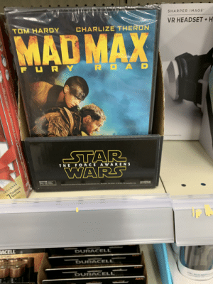 Star Wars: Mad Max Fury Road: SHARPER IMAGE  TOM HARDY  MAD MAX  CHARLIZE THERUN  VR HEADSET+ H  FURY  R OA  STAR  WARS  THE FORCE AWAKENS  PO1E  Timeless  Stories  Disbibuted by Buuena Vista Hame Entertainment, Ine  INCLUDES  Burhank GA 918  a018 a TM Lueastn Lid  CASAM  RACELL  DURACELL  NOYEARS  DURACELL  DURACELL  AAI  POUR  Toe Onenal CHR  FHCepgtCHRIS LS CASSS Star Wars: Mad Max Fury Road