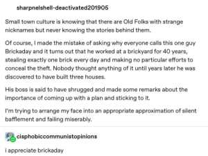 Tumblr, Appreciate, and Break: sharpnelshell-deactivated 201905  Small town culture is knowing that there are Old Folks with strange  nicknames but never knowing the stories behind them  Of course, I made the mistake of asking why everyone calls this one guy  Brickaday and it turns out that he worked at a brickyard for 40 years,  stealing exactly one brick every day and making no particular efforts to  conceal the theft. Nobody thought anything of it until years later he was  discovered to have built three houses.  His boss is said to have shrugged and made some remarks about the  importance of coming up with a plan and sticking to it.  I'm trying to arrange my face into an appropriate approximation of silent  bafflement and failing miserably.  cisphobiccommunistopinions  i appreciate brickaday I'll be taking a break, I'll be back in ~30 minutes