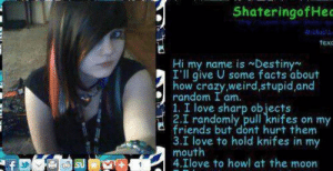 not sure if this fits here but: ShateringofHec  Mciael  texc  Hi my name is Destiny  I'll give U some facts about  how crazy,weird, stupid,and  random I am.  1. I love sharp objects  2.I randomly pull knifes on my  friends but dont hurt them  3.I love to hold knifes in my  mouth  4.Ilove to howl at the moon  f not sure if this fits here but