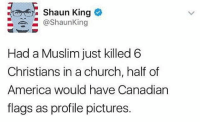 Memes, Shaun King, and Canadian: Shaun King  @Shaun King  Had a Muslim just killed 6  Christians in a church, half of  America would have Canadian  flags as profile pictures. - vanessa