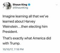 America, Shaun King, and Trump: Shaun King  @ShaunKing  Imagine learning all that we've  learned about Harvey  Weinstein....then electing him  President.  That's exactly what America did  with Trump.  10/10/17, 7:18 PM (S)
