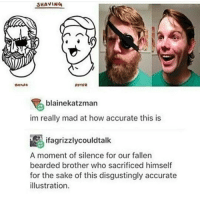 illustrate: SHAVING  AFTER  L  blainekatzman  im really mad at how accurate this is  ifagrizzlycouldtalk  A moment of silence for our fallen  bearded brother who sacrificed himself  for the sake of this disgustingly accurate  illustration.