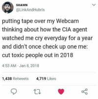 Memes, Work, and 🤖: SHAWN  @LinkAndHubris  putting tape over my Webcam  thinking about how the CIA agent  watched me cry everyday for a year  and didn't once check up one me:  cut toxic people out in 2018  4:53 AM Jan 8, 2018  1,438 Retweets  4,719 Likes Solid work, Shawn.