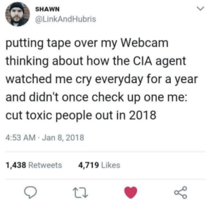 Cutting Toxic people out: SHAWN  @LinkAndHubris  putting tape over my Webcam  thinking about how the CIA agent  watched me cry everyday for a year  and didn't once check up one me  cut toxic people out in 2018  4:53 AM Jan 8, 2018  1,438 Retweets  4,719 Likes Cutting Toxic people out