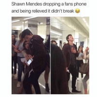 Lol, Memes, and Phone: Shawn Mendes dropping a fans phone  and being relieved it didn't break Close call lol. Tag a friend