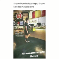 Girl Memes, Hot, and Public: Shawn Mendes listening to Shawn  Mendes in public is me  is  Shawn jamming to  Shawn he's so fkn hot