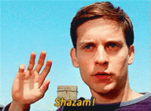 When someone asks if I'm excited for any upcoming movies.: Shazam When someone asks if I'm excited for any upcoming movies.