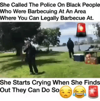 Crying, Food, and Funny: She Called The Police On Black People  Who Were Barbecuing At An Area  Where You Can Legally Barbecue At.  She Starts Crying When She Finds  Out They Can Do So Who put seasoning on her food and made her mad