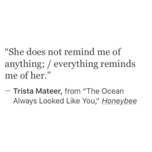 """remind me: """"She does not remind me of  anything; everything reminds  me of her.""""  Trista Mateer, from """"The Ocean  Always Looked Like You,"""" Honeybee"""