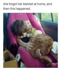 Cute, Home, and Her: she forgot her blanket at home, and  then this happened cute kid and cute cat! 💗