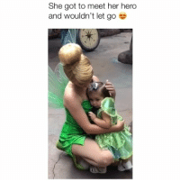 Disney, Memes, and Heart: She got to meet her hero  and wouldn't let go This melts my heart.. Credit: @disney_princess_emily