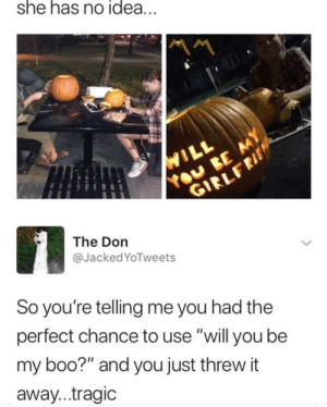 """Boo, Funny, and The Don: she has no idea  The Don  @Jacked YoTweets  So you're telling me you had the  perfect chance to use """"will you be  my boo?"""" and you just threw it  away...tragic Tragic via /r/funny https://ift.tt/2Q7iKMr"""