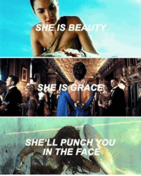 Destiny, Life, and Memes: SHE IS BE  SHELL PUNCH YOU  IN THE  FACE Seriously, you don't want to mess with her! Tag a strong woman in your life ❤️ Celebrate the GUARDIANS with May's Loot Crate DX featuring Wonder Woman, Guardians of the Galaxy Vol. 2, and Destiny! (via Pinterest)