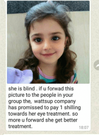 "Tumblr, Whatsapp, and Blog: she is blind. if u forwad this  picture to the people in your  group the, wattsup company  has promissed to pay 1 shilling  towards her eye treatment. so  more u forward she get better  treatment  18:07 <p><a href=""http://memehumor.tumblr.com/post/158484623708/my-noble-father-doing-his-part-for-the-greater"" class=""tumblr_blog"">memehumor</a>:</p>  <blockquote><p>My noble father, doing his part for the greater good on Whatsapp</p></blockquote>"