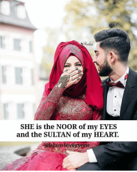 Beautiful, Love, and Memes: SHE is the NOOR of my EYES  and the SULTAN of my HEART.  amdeveryone A wife is the one who heals the heart of her husband. She comforts him and brings tranquility to his soul. She is his friend, his companion, his support and the one he trusts and confides within. She covers his faults and does not expose the affairs of their home to the world. She safeguards his secret and overlooks his shortcomings. __ She brings peace to his heart and soothes the pain of his soul. She makes him smile when he is down and reminds him when he is neglectful. She wants goodness for him in the world, but she advises him about desiring the akhirah. She stands by him whether in ease or hardship. She respects him and misses him when he isn't around. __ She prays with him to show their gratitude and she jokes with him to show her affection. She prays that their love and compassion for one another increases and she asks Allah to gather them together in the gardens of paradise. This is what we learn from the great women of Islam from the early generations of this ummah. This rule can be applied for both genders. Beautiful photo from @reyhanphotography