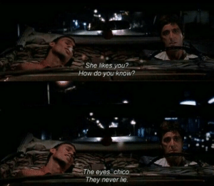chico: She likes you?  How do you know?  The eyes, chico  They never lie.
