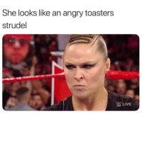 Funny, Lol, and Angry: She looks like an angry toasters  strudel  #RA  WLIVE Tag a angry strudel lol