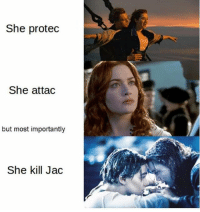 Never forget!!!! A girl cheated on her fiancé in the back of a car on a boat, then killed her lover. This is an episode of Law & Order... not a love story.: She protec  She attac  but most importantly  She kill Jac Never forget!!!! A girl cheated on her fiancé in the back of a car on a boat, then killed her lover. This is an episode of Law & Order... not a love story.