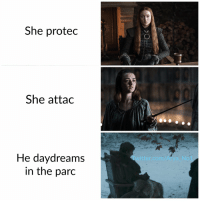 Memes, Twitter, and Credited: She protec  She attac  He daydreams  in the parc  Twitter.com/Arya Nol The Starks (Credit to @Arya_No1) https://t.co/3rWHONELUL