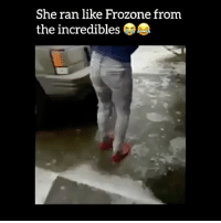 """Frozone, Memes, and The Incredibles: She ran like Frozone from  the incredibles Double tap❤️comment """"bruh"""" letter by letter without being interrupted... (It's very impossible)!"""