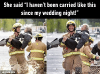 """9gag, Dank, and Apps: She said """"I haven't been carried like this  since my wedding night!""""  VIA gGAG.COM I want to be carried like this too! 💓 9GAG Mobile App: www.9gag.com/mobile?ref=9fbp  http://9gag.com/gag/a1X2XZw?ref=fbp"""