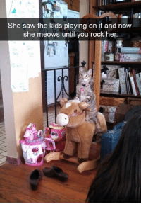 Saw, Kids, and Her: She saw the kids playing on it and now  she meows until you rock her. Anything For The Kitty