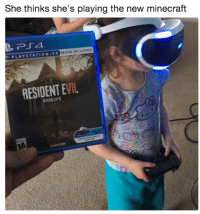 3… 2… 1…: She thinks she's playing the new minecraft  PLAYSTATION.VR  MODE INCLUDED  RESIDENT EVIL  biohazard 3… 2… 1…
