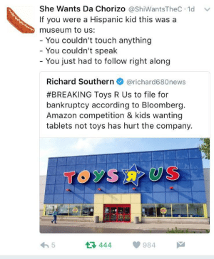 Amazon, Toys R Us, and Bankruptcy: She Wants Da Chorizo @shiWantsTheC 1d  If you were a Hispanic kid this was a  museum to us:  You couldn't touch anything  You couldn't speak  - You just had to follow right along  Richard Southern@richard680news  #BREAKING Toys R Us to file for  bankruptcy according to Bloomberg  Amazon competition & kids wanting  tablets not toys has hurt the company.  TOyS  A 5  13 444984  伫구 I never was able to go inside..