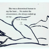 To Say The Least: She was a determined human to  say the least  No matter the  circumstance, she always ended up  on top  A. D. Woods