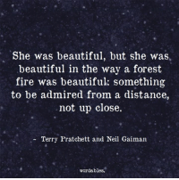 Beautiful, Fire, and Forest: She was beautiful, but she was  beautiful in the way a forest  fire was beautiful something  to be admired from a distance  not up close.  Terry Pratchett and Neil Gaiman  wordables.