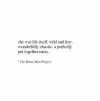 Life, Free, and Wild: she was life itself. wild and free  wonderfully chaotic. a perfectly  put together mess.  The Better Man Project