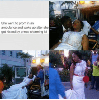 Is this fire or nah ??? 😅😅 ok my input is first lol I don't think it's fire lol her moms prolly a emt sound like some shit a crackhead would think of kissed by Prince Charming what' the actual fuck 😂😂😂 nah hoe yall couldn't afford no damn Disney chariot or a damn Limo so yall just thought yall was gonna kill em pulling up to prom in the ambulance I'm sorry not fire 😂😂💀💀 you know how many lives weren't saved because of these shenanigans ... Let me know what yall think I could be wrong 😂😂: She went to prom in an  ambulance and woke up after she  got kissed by prince charming lol Is this fire or nah ??? 😅😅 ok my input is first lol I don't think it's fire lol her moms prolly a emt sound like some shit a crackhead would think of kissed by Prince Charming what' the actual fuck 😂😂😂 nah hoe yall couldn't afford no damn Disney chariot or a damn Limo so yall just thought yall was gonna kill em pulling up to prom in the ambulance I'm sorry not fire 😂😂💀💀 you know how many lives weren't saved because of these shenanigans ... Let me know what yall think I could be wrong 😂😂