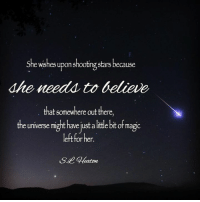 S.L. Heaton <3: She wishes upon shooting stars because  dhe needs to believe  that somewhere out there,  the universe might have just a little bit of magic  left for hen S.L. Heaton <3
