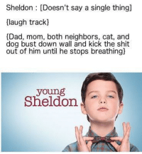 """Dad, Shit, and Http: Sheldon : [Doesn't say a single thing]  (laugh track)  [Dad, mom, both neighbors, cat, and  dog bust down wall and kick the shit  out of him until he stops breathing)  young  Sheldon <p>Yung Sheldon at it again via /r/MemeEconomy <a href=""""http://ift.tt/2yfQDF2"""">http://ift.tt/2yfQDF2</a></p>"""