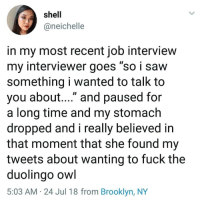 "Most Recent: shell  @neichelle  in my most recent job interview  my interviewer goes ""so i savw  something i wanted to talk to  you about...."" and paused for  a long time and my stomach  dropped and i really believed in  that moment that she found my  tweets about wanting to fuck the  duolingo owl  5:03 AM 24 Jul 18 from Brooklyn, NY"