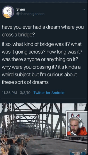 Shen  @shenanigansen  have you ever had a dream where you  cross a bridge?  if so, what kind of bridge was it? what  was it going across? how long was it?  was there anyone or anything on it?  why were you crossing it? it's kinda a  weird subject but I'm curious about  these sorts of dreams  11:35 PM 3/3/19 Twitter for Android  32 I wonder what kinds of dreams pewds has?