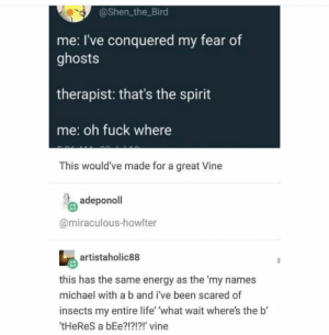 Energy, Life, and Vine: @Shen the Bird  me: I've conquered my fear of  ghosts  therapist: that's the spirit  me: oh fuck where  This would've made for a great Vine  adeponol  @miraculous-howlter  artistaholic88  this has the same energy as the 'my names  michael with a b and i've been scared of  insects my entire life' 'what wait where's the b'  tHeReS a bEe?!?!?!' vine Clean humour