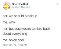 Memes, Break, and Cool: Shen the Bird  @Shen_the_Bird  her: we should break up  me: why  her: because you're too laid back  about everything  me: oh ok cool  2018-08-22, 6:38 PM Laid back via /r/memes https://ift.tt/2LmuoQM