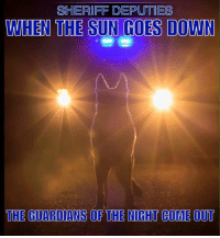 Memes, Guardian, and The Guardian: SHERIFF DEPUTIES  WHEN THE SUN GOES DOWN  THE GUARDIANS OF THE NIGHT COME OUT Stay safe out there we need you!