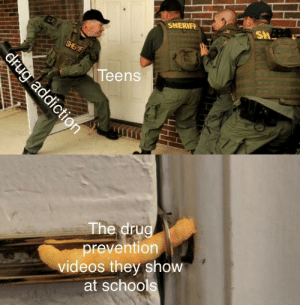 Videos, Drug, and Sheriff: SHERIFF  Sh  Teens  The drug  prevention  videos they show  at schogl Well, at least they tried