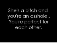 💯: She's a bitch and  you're an asshole  You're perfect for  each other. 💯