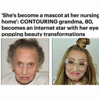 """Grandma, Internet, and Memes: """"She's become a mascot at her nursing  home': CONTOURING grandma, 80,  becomes an internet star with her eye  popping beauty transformations I know I'm literally just posting random things, but they all make me happy, and I what to share it with you guys! -Noelle"""