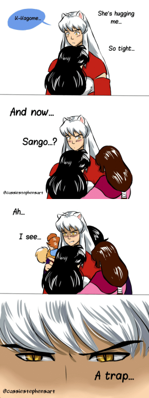 Instagram, Target, and Tumblr: She's hugging  K-Kagome...  me...  So tight...  And now...  Sango...?  (Nley  @cassiestephensart   Ah...  I see...  NMery  A tra..  @cassiestephensart cassiestephensart:  Bonus: Grumpy Pup is so starved for affection, he doesn't know how to react when it is presented.  Instagram: @cassiestephensart Website: cassiestephensart,com Devinatart: @xstolengracex PLEASE DO NOT REPOST.