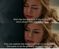 Definitely, Maybe, 2008: She's like the character in the story  who's always been the friend  Then she realized she doesn't just want to be the frien  She wants to be the girlfriend, except it's too late. Definitely, Maybe, 2008