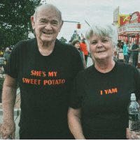 Never too old for a quality pun.: SHE'S M  SWEET POTATO  I YAM  ona Never too old for a quality pun.