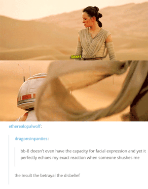 We are all BB-8: Shhh!  etherealopalwolf:  dragonsinpanties:  bb-8 doesn't even have the capacity for facial expression and yet it  perfectly echoes my exact reaction when someone shushes me  the insult the betrayal the disbelief We are all BB-8
