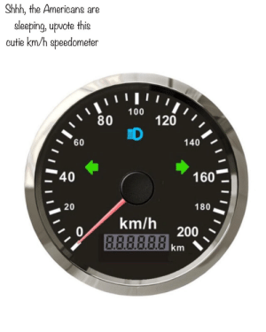 A lucky speedometer via /r/memes https://ift.tt/2OMqSGr: Shhh, the Americans are  eleeping, upvote this  cutie km/h speedometer  ווויו י  100  80  120  D  60  140  40  160  20  180  km/h  0  B.ABBRA200  km A lucky speedometer via /r/memes https://ift.tt/2OMqSGr