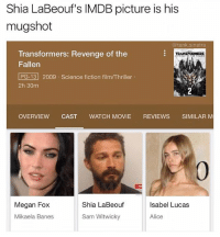 That's wild: Shia LaBeouf's IMDB picture is his  mugshot  @tank.sinatra  Transformers: Revenge of the  Fallen  PG-13 2009 Science fiction film/Thriller  2h 30m  RANSTORMERs  OVERVIEW CAST WATCH MOVIE REVIEWS SIMILAR M  0  Megan Fox  Shia LaBeouf  Isabel Lucas  Mikaela Banes  Sam Witwicky  Alice That's wild