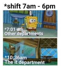 All, Department, and 6pm: *shift 7am - 6pm  * 7:01 ane  Other departments  10:36am  The it department All it department
